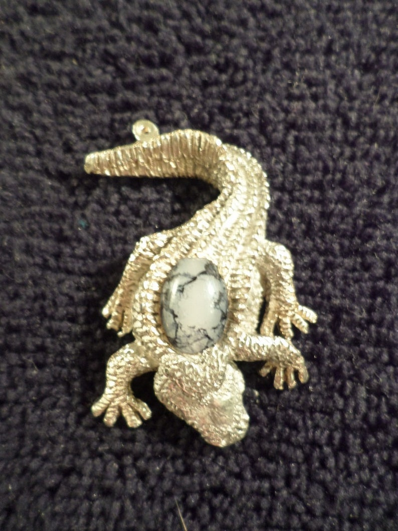 New.{ Glass casting Alligator } pendant