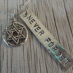 Never Forget - Jewish Holocaust remembrance pendant - 5 dollar donation to Anti-Defamation League with purchase