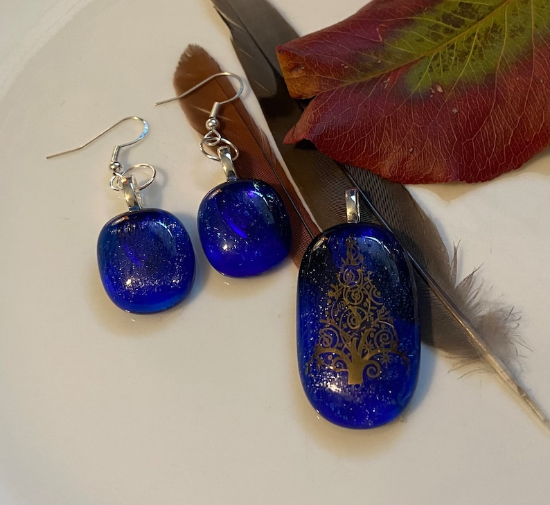 Blue Christmas Holiday Tree Fused Glass Jewelry Set
