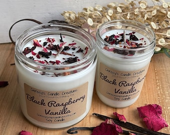 Black Raspberry Vanilla Soy Candles - Handcrafted Soy Candle -  Scented Candle - Soy Wax - Farmhouse decor - Housewarming Gift