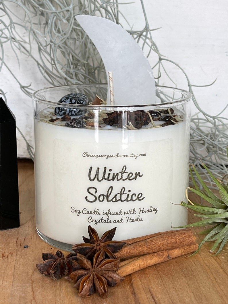 Mindfulness Gift Yule Candle Selenite Crescent Moon 16oz Soy Candle Intention Candle Winter Solstice Crystal Candle