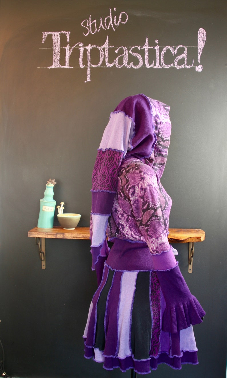 Recycled Katwise-Style Sweater Upcycled Fashion Lightweight Funky Sweater Purple Cotton Sweater