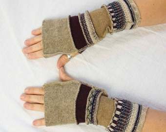 Cozy Recycled Wool Arm Warmers, Tan Texting Gloves, Fingerless Gloves, Tan and Burgundy Arm Warmers, Sustainable Style by Triptastica