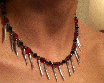Necklace Black and Red Crystals wGunmetal Spikes