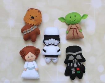 Star Wars plush Force Awakens Princess Leia felt doll Star Wars ornament Chewbacca Yoda Stormtrooper Darth Vader death star