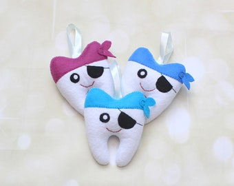 Pirate Tooth Fairy Pillow tooth  pouch dentist gift Tooth Keeper Tooth pouch boys tooth pillow tooth fairy pouch tooth fairy bag lost tooth