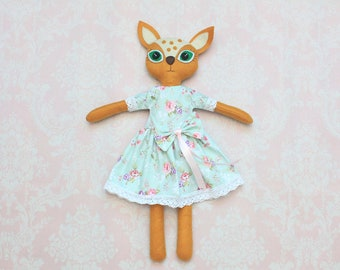 Deer Plush rag doll collectable doll Cloth doll stuffed fawn Art doll primitive woodland softie fawn doll plush fawn OOAK dolls