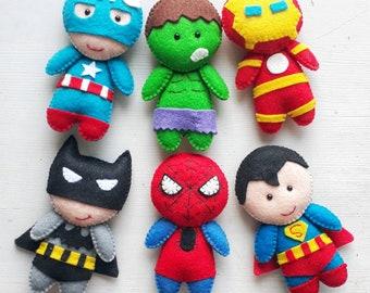 Felt Superhero doll, superhero  plush, superhero ornament, Cute baby superhero, stuffed superhero characters