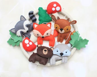 Woodland baby mobile forest animals crib mobile woodland plush nature mobile raccoon mobile fox mobile forest mobile woodland animals