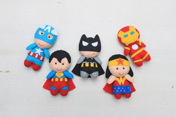 Felt Superhero dolls, Stuffed superhero ornament, Spiderman plush,  Superhero nursery
