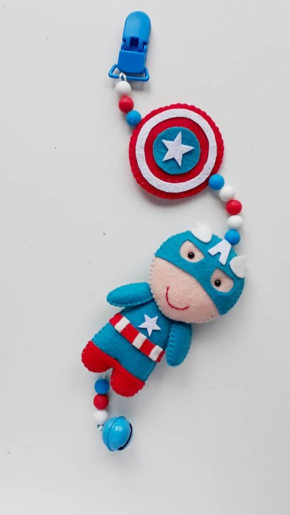 Baby pram toy, Superhero pram mobile, captain America Stroller mobile,  Spiderman pram chain, Superhero pram decor, Superhero baby mobile