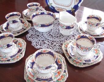Vintage English Tea Set Imari Colours 1930's Wetly China