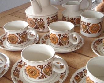Vintage English Tea Set Midwinter Stonehenge 1970's Stoneware