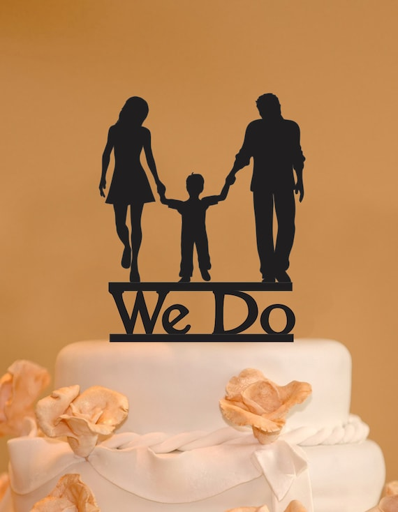 Man Woman And Child Wedding Cake Topper Family Wedding -1339