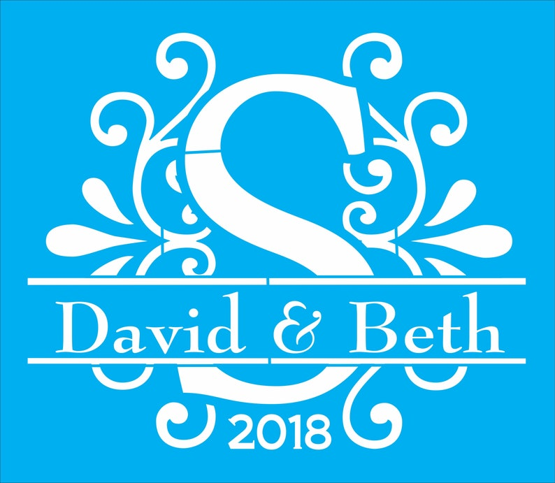 wedding monogram Custom Monogram wedding stencil with your names and date split letter monogram with names and year