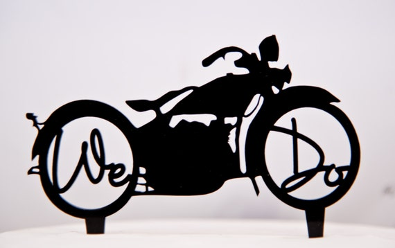 Harley Davidson Motorcycle Wedding Cake Topper With We Do