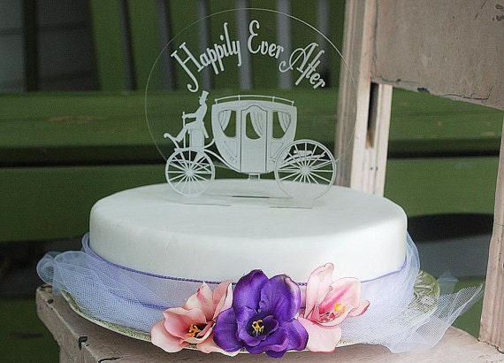 Happily Ever After With Carriage Cake Topper Engraved Etsy