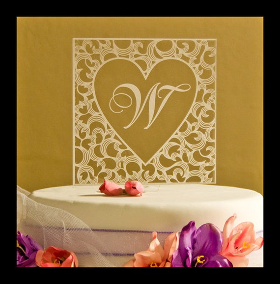 Custom Monogram inside heart wedding cake topper Custom | Etsy