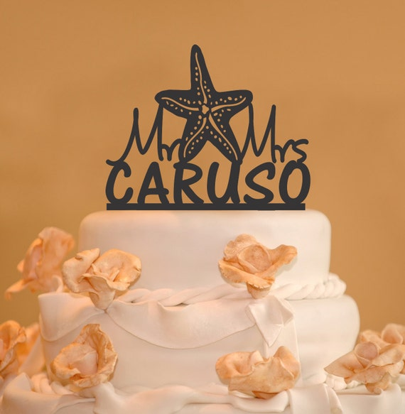 Starfish Wedding Cake Topper Personalized Wedding Cake Topper With Your Last Name Mr Mrs Wedding Cake Topper Starfish Topper