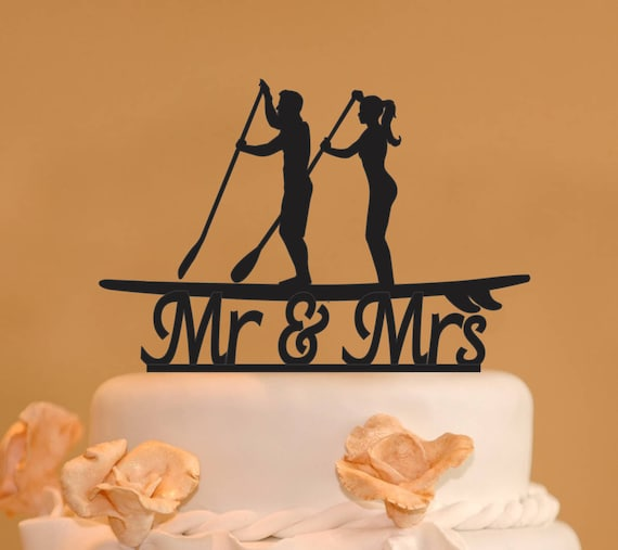 Stand Up Paddleboard With Mr. And Mrs. Wedding Cake Topper