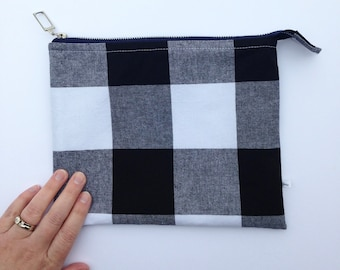 black gingham pouch, large gingham check, zippered pencil case, school supply bag, tablet organizer bag, clutch purse, student gift for girl