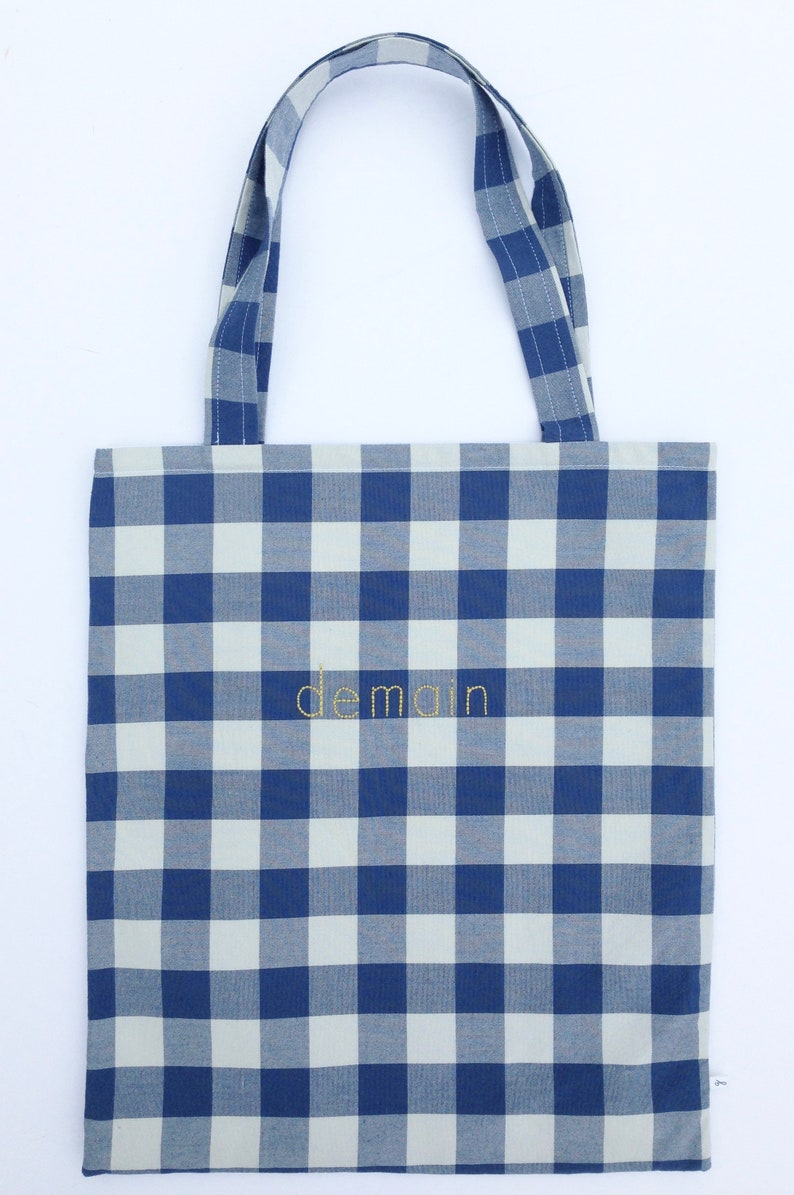 gingham tote bag preppy teen girl bag custom book bag reusable library tote bookish gift french embroidered tote francophile gift idea