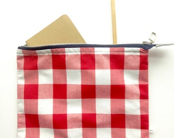 school supply bag, backpack organizer, red gingham bag, large pencil case, college gift, teen gift idea, gift for graduation, gift under 20