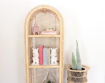 Vintage Rattan Shelf Arched Bookshelf Wicker Shelf Boho Storage and Organization Boho Home Decor