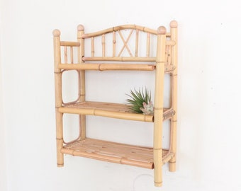 Three Tier Rattan Shelf Medium Sized Bookshelf Wicker Boho Storage And Organization Home Decor