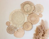 Boho Basket Wall Set of 9 Handwoven Rattan and Seagrass Baskets and Trivets Instant Collection