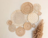 Boho Basket Wall Set of 10 Handwoven Rattan and Seagrass Baskets and Trivets Instant Collection