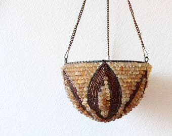 SALE Vintage Hanging Candle Votives Beaded Lamp Light Glass Boho Home Decor Bohemian Patio