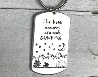 Camper gift, camping gift, camper keychain, glamping, happy camper, the best memories are made camping, camping rv, camper, campers, tent