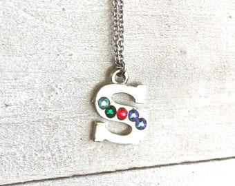 Family necklace, mothers necklace, family name necklace, family birthstone necklace, birthstone necklace, initial necklace, gift for mother