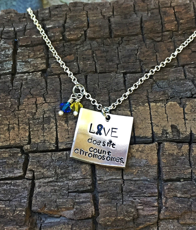love doesn/'t count chromosomes Down syndrome awareness jewelry Down syndrome necklace Down syndrome Down syndrome awareness necklace