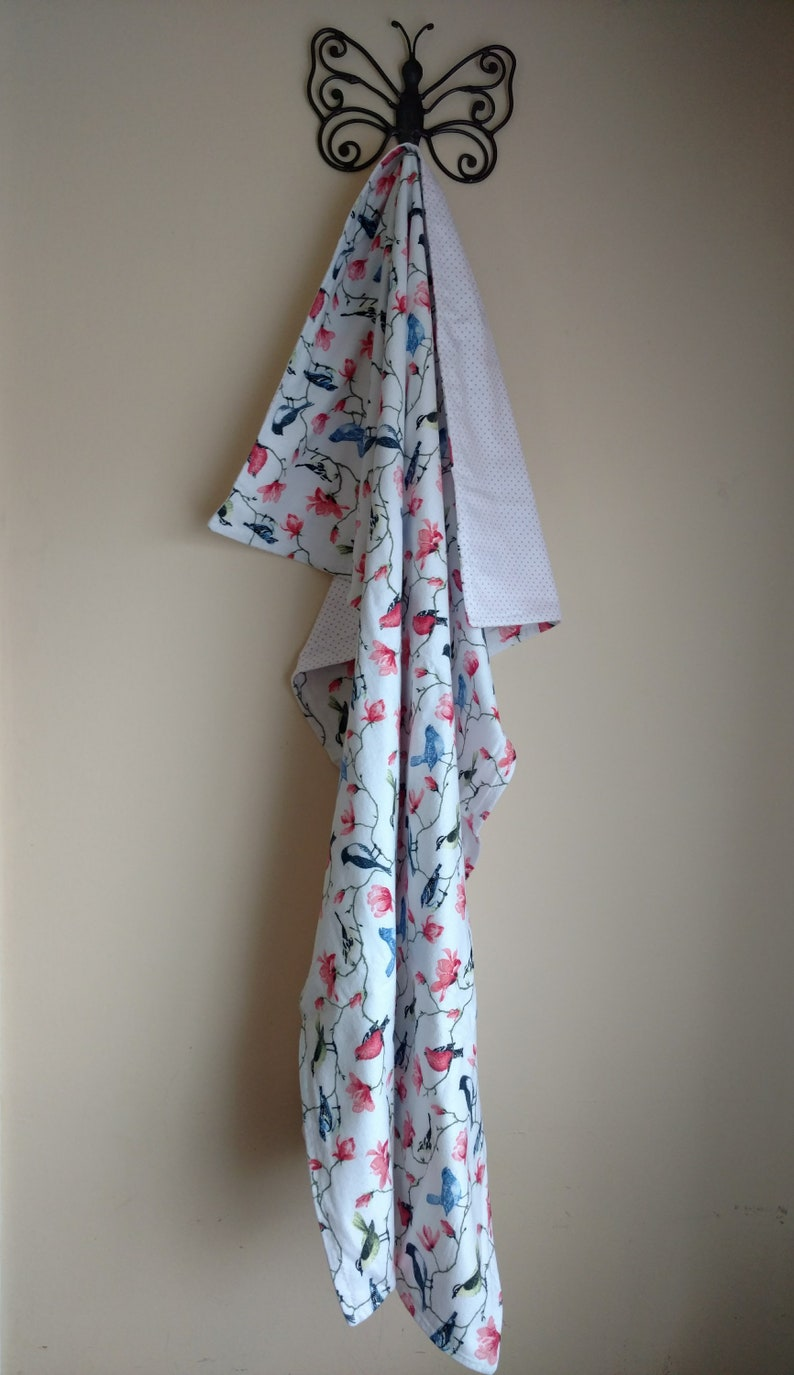Sparrows Flannel Reversible Blanket with Bonus Storage Pouch Baby Shower Gift Lap Blanket
