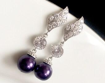 purple wedding bridal earrings,dark purple jewelry earrings,purple pearl earrings,tear drop bridal earrings,Cz earrings, bridesmaid earrings