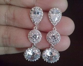 Bridal Earrings, Cubic Zirconia Earrings, Crystal earrings,tear drop earrings,glass-crystal earrings,briddesmaid earrings,bridesmaid jewelry
