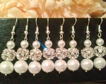 set of 8 bridesmaid pearl earrings,bridal pearl earrings,bridesmaid gifts, gift,tear drop pearl earrings,sale,affordable bridesmaid gift