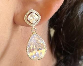 Bridal Earrings, Cubic Zirconia earrings,Crystal earrings,tear drop bridal earrings,bridesmaid gift,wedding earrings,clear crystal
