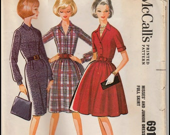 """McCall's 6910  Misses' And Junior Dress with Slim Or Full Skirt Bust 34"""""""