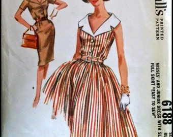 """McCall's 6188  Misses' And Junior Dress with Slim or Full Skirt  Bust 31"""""""