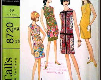 McCall's  8720  Misses' And Junior Dress  Size  16  Bust  36""