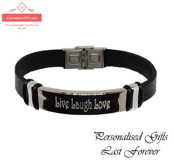 Any Name Choice Gifts Personalized Mens Leather Bracelet RHYS Name Bracelet
