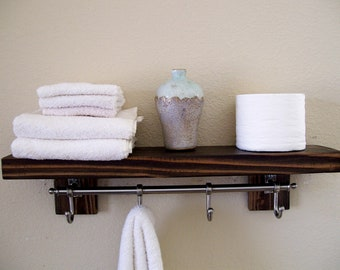 Rustic Bathroom Shelves Towel Rack Wood Shelf Bathroom Shelf Etsy