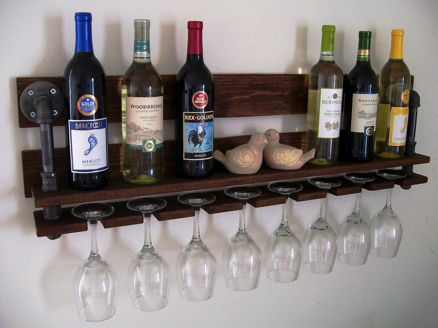 Reclaimed Wood Wine Rack Wine Bottle Wine Glass Pallet Wood Etsy