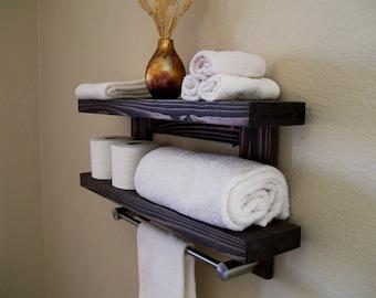 Floating Shelves Bathroom Shelf Floating Shelf Wood Shelves Bathroom Shelves Satin Nickel Towel Bar