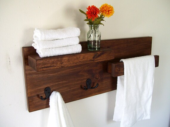 bathroom shelves towel rack towel bar wood shelf bathroom etsy