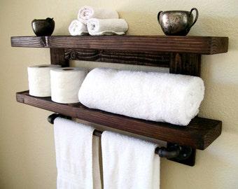 Floating Shelves Bathroom Shelf Towel Rack Floating Shelf Wall Shelf Wood Shelf Bathroom Shelves Toilet Paper Holder Bathroom Storage