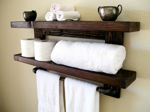 floating shelves bathroom shelf towel rack floating shelf wall etsy rh etsy com Bathroom Shelf with Towel Rack Towel Wall Shelf for Bathrooms